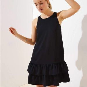 LOFT Black Ruffle Dress